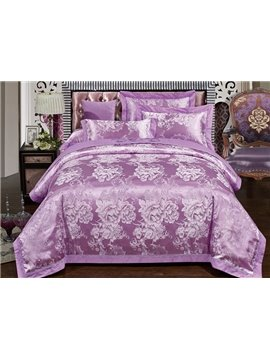 Beautiful Peony Purple Jacquard 4-Piece Duvet Cover Sets
