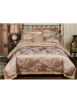 Noble Sandy Beige Floral Jacquard 4-Piece Duvet Cover Sets