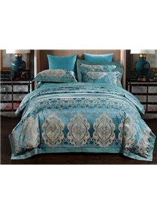 European Style Turquoise Jacquard 4-Piece Duvet Cover Sets