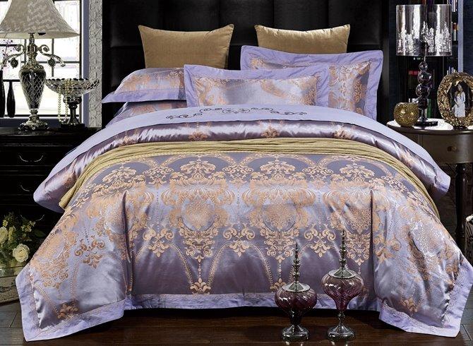 Noble Purple Damask Jacquard 4-Piece Duvet Cover Sets