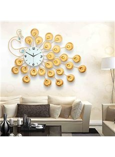 Golden European Style Delicate Peacock Shape Wall Clock