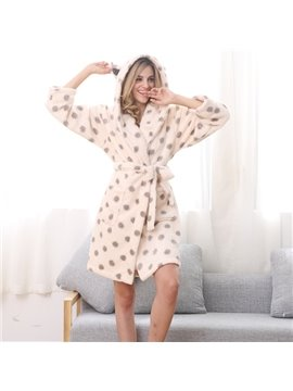 Soft Coral Cashmere Pink Dot Printing Women Bathrobe