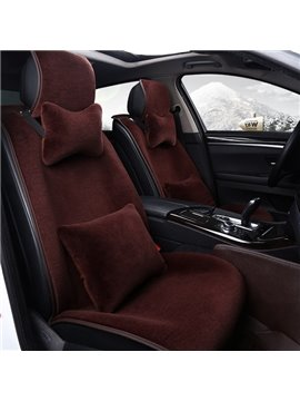Attractive Solid Color High-Grade Textured Fluffy Warm Universal Car Seat Cover