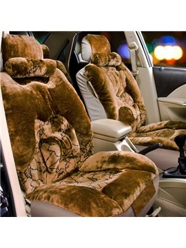 Unique 3D Stereoscopic Design With Leaf Pattern Plush Universal Car Seat Cover