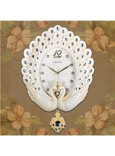 Fashion Design White Peacock with Acrylic Diamond Mute Battery Wall Clock