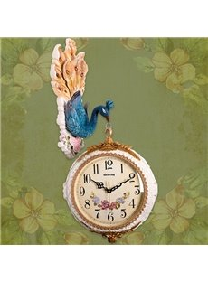 Classic Unique Peacock Design Digital and Hand Indicators Mute Wall Clock