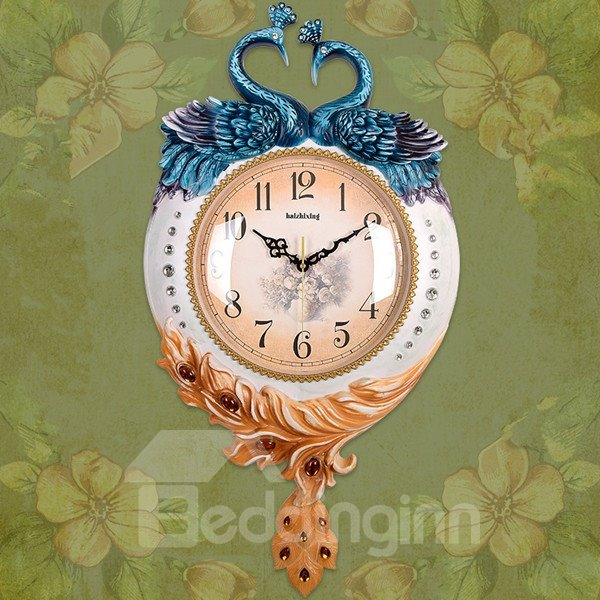 Luxury European Style Two Lovely Peacock Pattern Mute Home Decorative Wall Clock