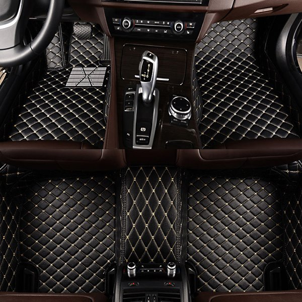 Grid Pattern Pu Leather Carpet Fit Car Floor Mats Liners Pic