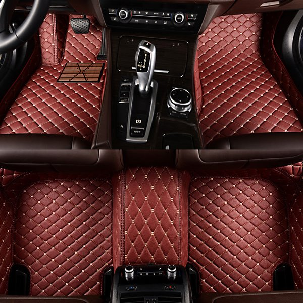 Luxurious Grid Pattern PU Leather Carpet Custom Fit Car Floor Mats Liners