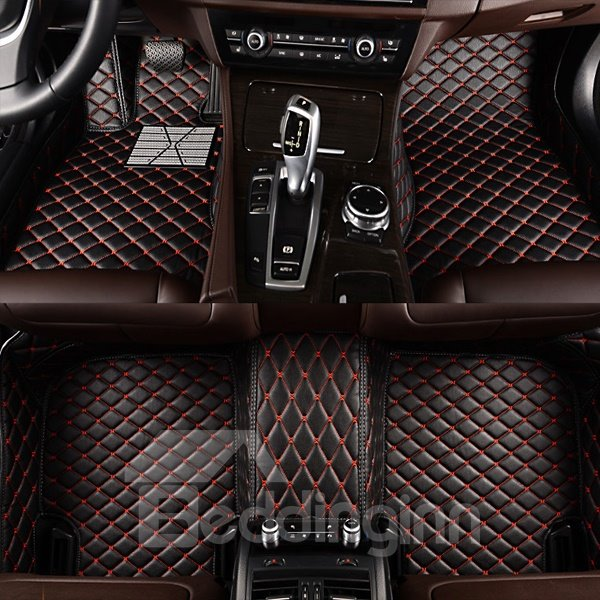 Classic Black Red Grid Lines Design Fit Car Floor Mats Liners Pic