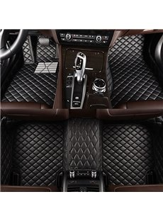 Classic Business Black Grid Style Brake Pedal Custom-Made Leather Car Floor Mats