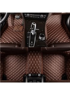 Classic Custom-Made Grid Line Design Fashion Coffee Color Dedicated Car Carpet