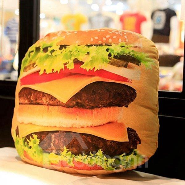 Unique Delicious Hamburger Design Plush Throw Pillow