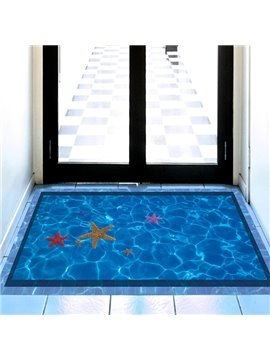 Home Decorative Vivid Blue Swimming Pool with Starfish Pattern 3D Floor Stickers