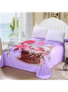 Excellent Colorful Flower and Basket Purple Printed Sheet