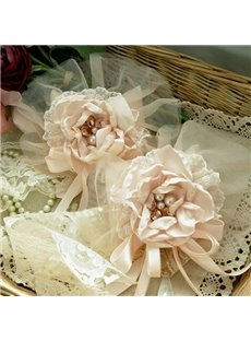 Romantic Pink Lace Flower Pattern Decorative Curtain Tiebacks