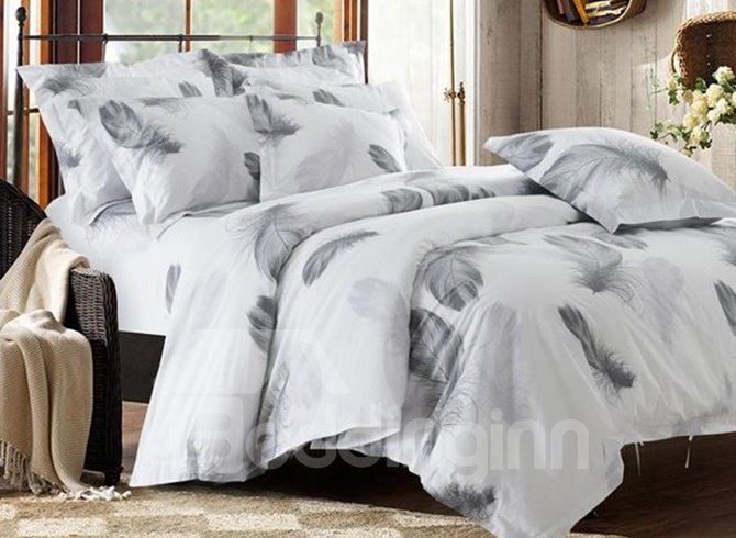 Minimalist Style Feather Print White 4 Piece Cotton Duvet