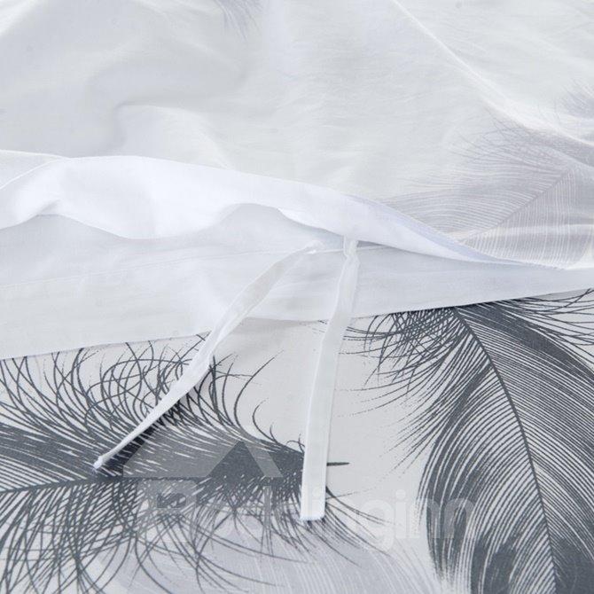 Minimalist Style Feather Print White 4 Piece Cotton Duvet