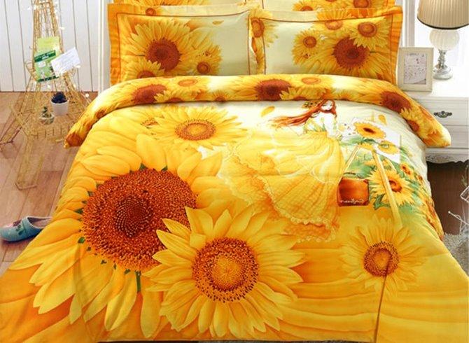 3d Sunflower And Girl Printed 4 Piece Yellow Bedding Sets Duvet Covers Beddinginn Com