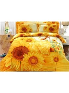 Charming 3D Sunflower Printed 4-Piece Cotton Duvet Cover Sets