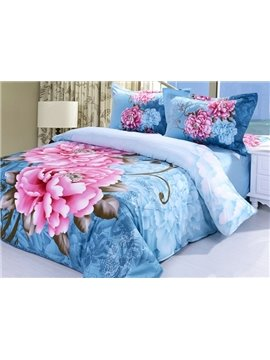 Amazing Pink Peony Print 4-Piece Cotton Duvet Cover Sets