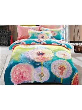 Dreamy Watercolor Dandelion Print 4-Piece Cotton Duvet Cover Sets