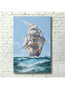 20×28in Yacht Sailing on Sea Pattern Canvas Eco-friendly and Waterproof Framed Prints