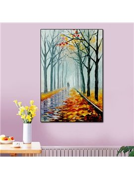 16×24in Yellow Leaves with Both Rows of Trees Canvas Waterproof Framed Prints