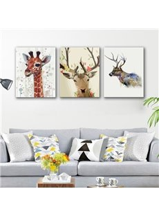 Rectangle Giraffe and Deer Pattern Hanging 3-Piece Canvas Waterproof and Eco-friendly Framed Prints