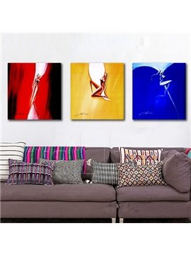 Abstract Square Sexy Girls Pattern 3 Pieces Canvas Stretched Framed Wall Art Prints