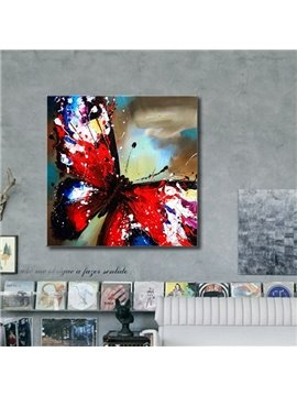Special Square Red Butterfly Pattern Canvas Stretched None Framed Wall Art Prints