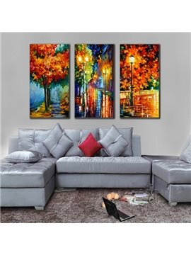 Handmade Colorful Autumn Scenery in the Rain 3 Pieces Canvas Stretched Framed Wall Art Prints