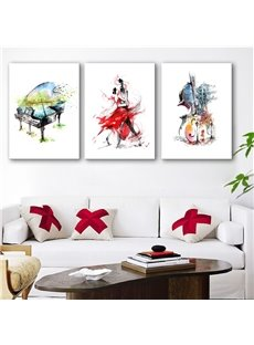 Dancing Couple Piano and Guitar Canvas Waterproof and Eco-friendly 3 Pieces Framed Prints