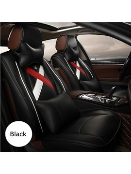 Super Popular Pure Color With Graffiti-Style Ribbon Pattern Design Leather Universal Car Seat Cover