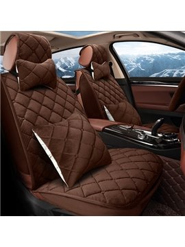 Fashion Checkered Grid Style Pure Warm Down Fiber Material Universal Car Seat Cover