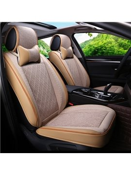 Luxurious Simple Style Durable Leather And Easy Breathable Flax Mixed Universal Car Seat Cover