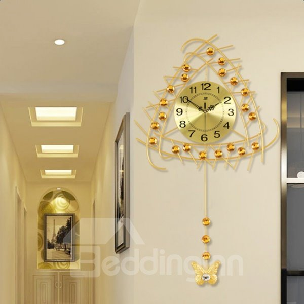 Golden Special Design Iron Frame Mute Battery Home Decorative Wall Clock