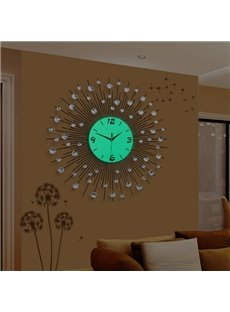Round Unique Design Fashion Iron Noctilucence with Artificial Diamond Decorative Wall Clock