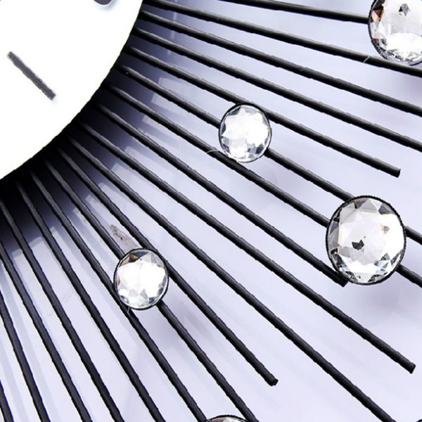 24*24in White Round Noctilucent Dial Iron and Diamonds Handmade Battery Hanging Wall Clock