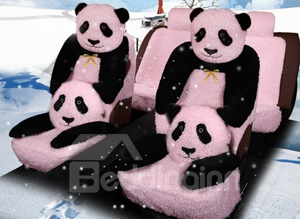 Lovely And Cute Panda Pattern Design Winter Warm Plush Material Comfortable Universal Car Seat Cover