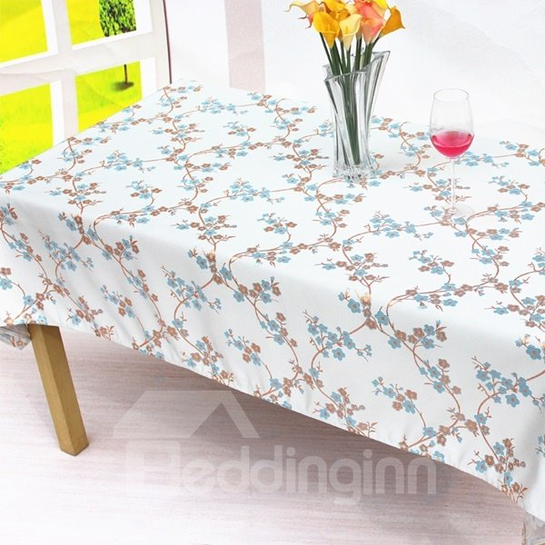 Fresh Cotton Rectangle Plum Blossom Machine Washable Home Decorative Tablecloth