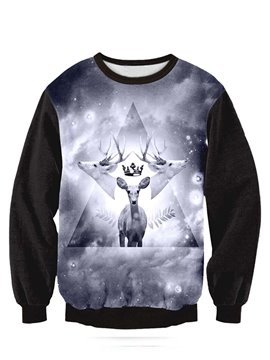 Long Sleeve Deer Pattern Black 3D Painted Hoodie