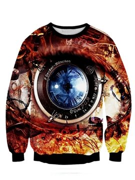 Vivid Long Sleeve Big Eye Pattern 3D Painted Zipper Hoodie