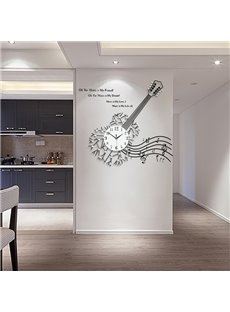 Special Iron Guitar and Music Note Design Modern Home Decorative Mute Wall Clock