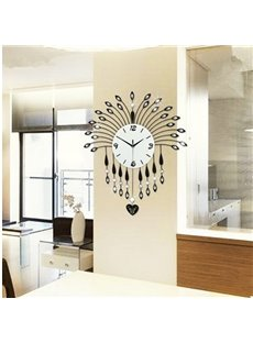 Elegant Fashion Design with Artificial Diamond Decoration Pendulum Mute Wall Clock