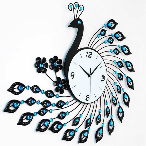 38 Gorgeous Iron 3D Peacock Design With Artificial Diamonds Decoration Battery Wall Clock