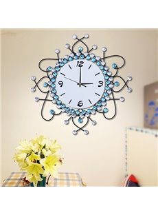 European Style Blue and White Artificial Diamonds Decoration 20 Inches Battery Wall Clock