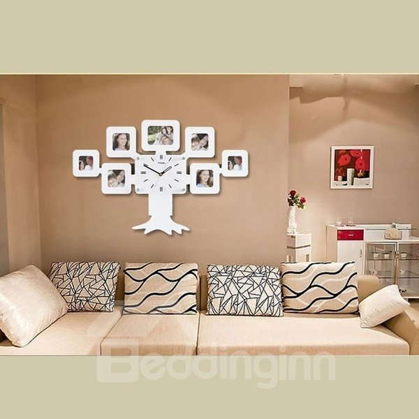 Fantastic and Creative Style Design Tree Pattern with Photo Frames Battery Mute MDF Home Wall Clock