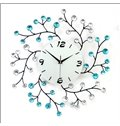 Elegant and Delicate Style White and Blue Branch with Artificial Diamonds Decoration Iron 9.4 Inches Diameter Wall Clock