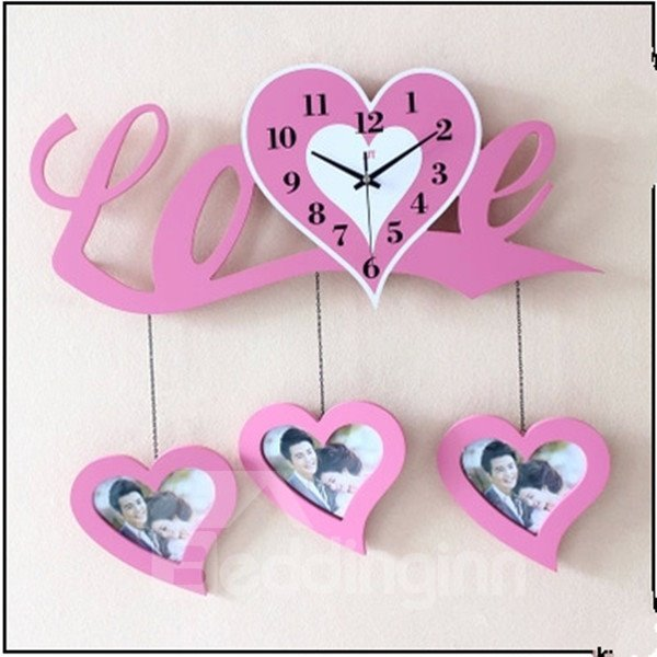 Romantic Love Heart Shaped with Photo Frame Decorative Wall Clock
